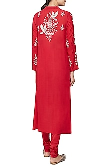 Red Tarita Embroidered Kurta Set
