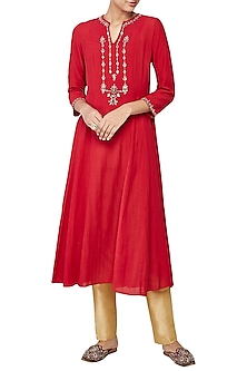 Red Rosawa Embroidered Tunic