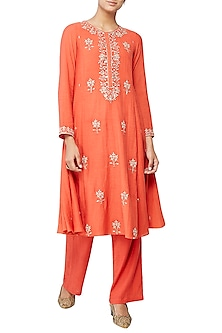 Rust Naomika Embroidered Suit