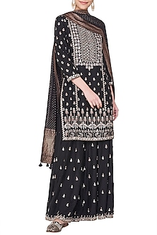 Black embroidered kurta with sharara pants