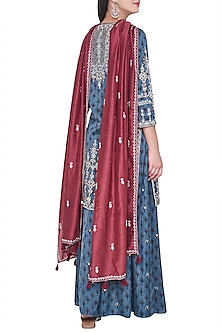 Blue block printed and embroidered kurta with sharara pants