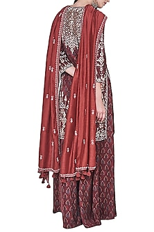 Rust block printed and embroidered kurta with sharara pants