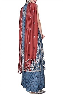 Blue block printed and embroidered kurta with palazzo pants
