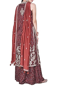Rust block printed and embroidered kurta with palazzo pants