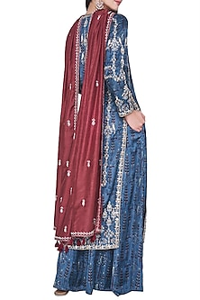 Blue embroidered and block printed kurta with sharara pants