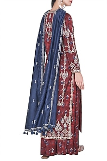 Rust embroidered and block printed kurta with sharara pants