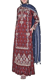 Rust embroidered and block printed kurta with sharara pants by ANITA DONGRE