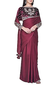 Wine embroidered saree set