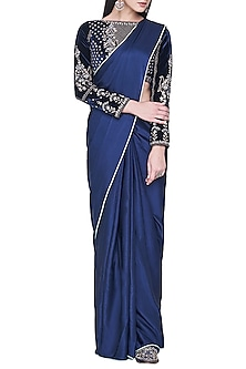 Navy blue embroidered saree set by ANITA DONGRE