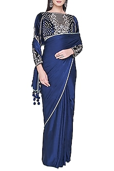 Navy blue embroidered saree set