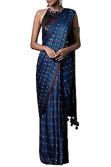 Blue block printed saree with blouse piece by ANITA DONGRE