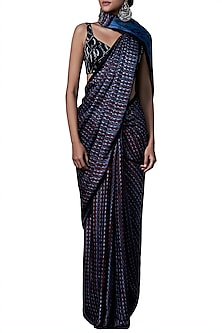 Blue traditional printed saree with blouse piece by ANITA DONGRE