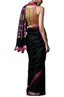 Black handwoven saree with blouse piece