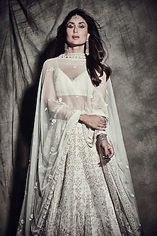 Cream embroidered lehenga set