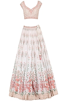 Ivory Digital Print Embroidered Lehenga Set by Anita Dongre