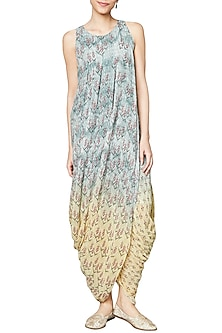 Grey To Yellow Ombre Printed Dhoti Gown by Anita Dongre