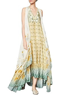 Yellow Printed Jacket by Anita Dongre