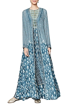 Vintage Blue Printed Jacket by Anita Dongre
