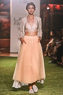 Natural Hued Printed Crop Top with Jacket and Skirt Set by Anita Dongre