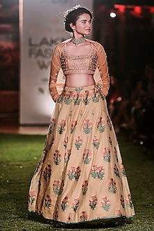 Peach Embroidered Brocade Lehenga Set by Anita Dongre