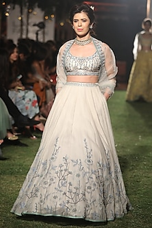 Natural Hued and Blue Embroidered Lehenga Set by Anita Dongre