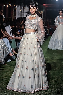 Natural Hued Floral Embroidered Lehenga Set by Anita Dongre