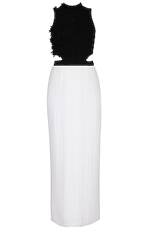 White and black embroidered dress by Aruni