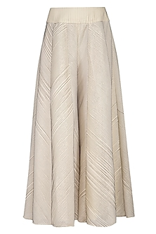 Cream pleated sharara pants