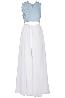Blue and white embroidered dress by Aruni