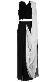 Black and white skirt saree by Aruni