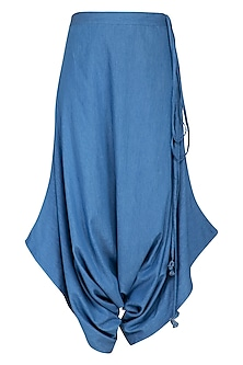 Blue washed denim harem pants by Aruni
