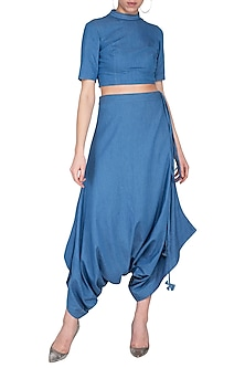Blue washed denim harem pants by Aruni