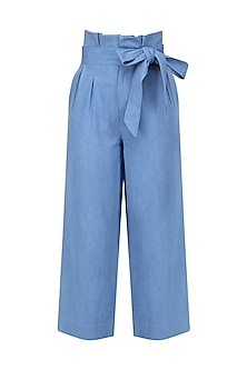 Sky Blue Denim High-Waisted Pants by Aruni