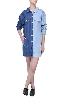 Sky and Dark Blue Denim Oversized Jacket by Aruni