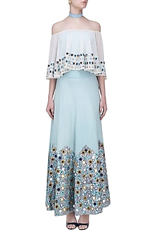 Sky Blue Mirror Embroidered Denim Skirt by Aruni