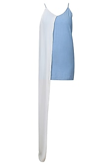 Light Blue And White Half Pintucked Denim Slit Dress by Aruni