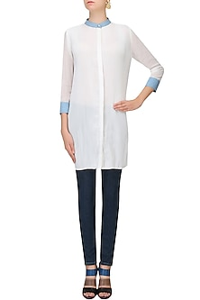 Blue And White Pleated Kurti by Aruni