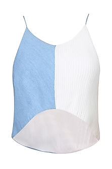 Blue And White Half Pleated Denim Crop Top by Aruni
