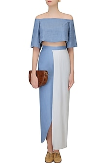 Blue And White Half Pleated Denim Wrap Around Skirt by Aruni