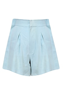 Powder Blue Washed Denim Shorts With Frilled Edges by Aruni