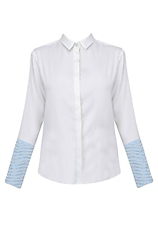 White Embroidered Convertible Shirt