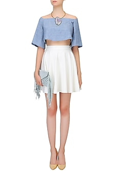 Blue Off Shoulder Flounce Crop Top by Aruni