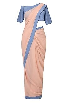 Salmon Pink And Denim Blue Pant Saree by Aruni