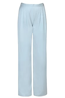 Light Blue Flared Wide Leg Pants by Aruni
