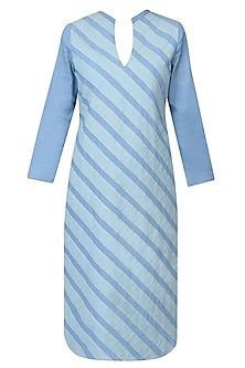 Blue Striped Denim Kurti