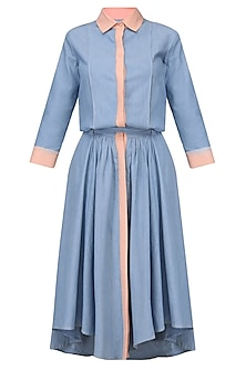 Blue And Salmon Pink Flared Midi Dress by Aruni