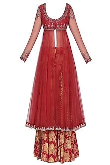 Red Embroidered Anarkali with Printed Palazzos and Velvet Dupatta