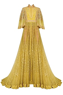 Yellow Floral Embroidered Cape Sleeves Gown with Pink Pants
