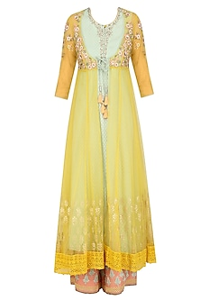 Yellow Floral Embroidered Jacket, Inner Kurta and Pink Pants Set