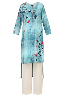 Powder Blue Leaf Printed High Low Kurta With Ivory Straight Pants